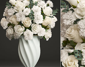 Bouquet of white flowers 3D