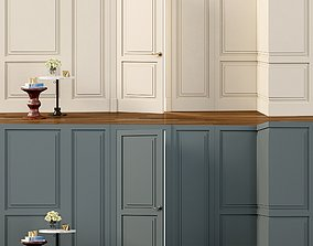 Wall molding Boiserie classic panels with 3D asset
