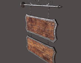 Medieval Wooden Tavern Sign 3D asset