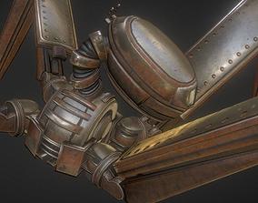 Gun Bot Rusty Version 3D asset animated