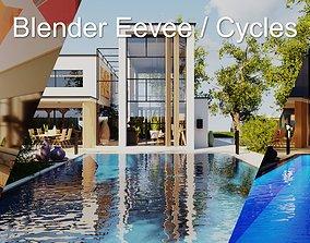 Modern villa 2021 Blender Eevee and Cycles 2 3D model