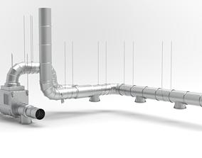3D model industry ventilation pipes