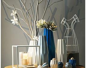 Flower Decorative Elements Set 3D model