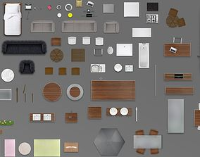 2d furniture floorplan top view PSD 3D model render black