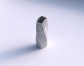 Vase twisted arc rectangle with bubbles 3D printable model