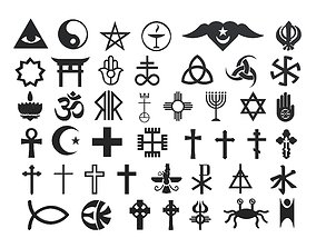 Religion Symbols 3D