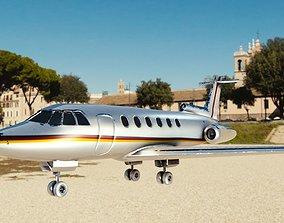 3D asset private jet with pbr textures