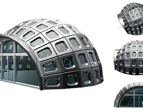 Dome Stand Alone Structure with Window Panels and entry 3D