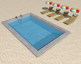 Cartoon Outdoor Swimming Pool 3D model