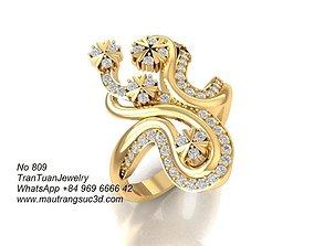 3D printable model 809 Korean diamond Ring for women
