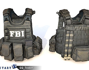FBI Vest Black - Tactical Gear Equipment VR / AR ready 2