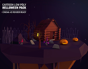 Cartoon Low Poly Halloween Island Pack 3D asset