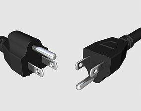NEMA 5-15 US electrical plugs 3D model