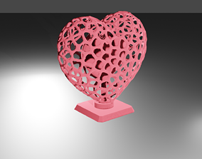 Heart Voronoi Wireframe 3D print model
