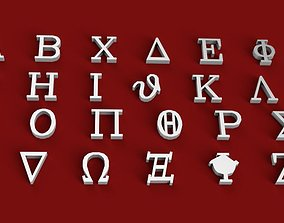GREEK font uppercase and lowercase 3D letters STL file