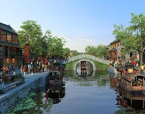 Old Chinese Style Mall Street 3D model