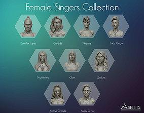 Collection of 9 female singers 3D portrait