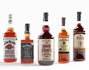 Set of 5 kinds of whiskey bottles 3D model