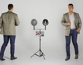 3D model Attractive man in a gray blazer walking 212