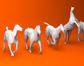 6 Lowpoly Horses 3D asset