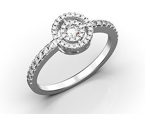 3D printable model Halo engagement ring with diamonds