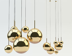 Mirror Ball Pendant Gold Light 3D model