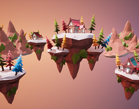 Floating Islands 3D model VR / AR ready