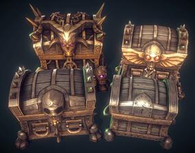 Low Poly Treasure Chest Set 3D asset