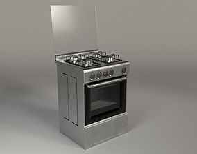 Kitchen Top and Oven 3D asset rigged