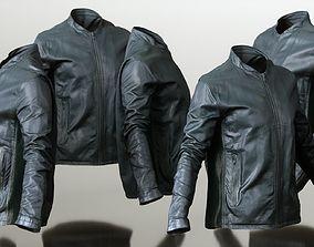 3D model Mens Clothing Black Leather Jacket Closed