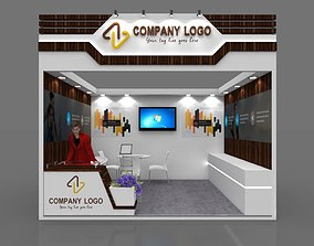 Exhibition stall 3d model 4x3 mtr 1 side open booth