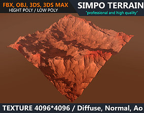 3D model Low poly Realistic Mars Terrain 04 - Game Ready