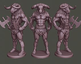 3D printable model Minotaur Warrior Stand two Axes