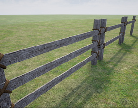 Wooden Fence 3D asset realtime closure