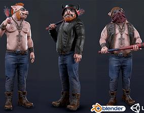 Boar Baiker 3D model rigged