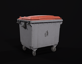 3D asset realtime Plastic Dumpster PBR
