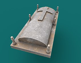 3D asset low-poly Tombstone PBR