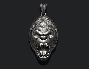 Roaring angry gorilla pendant 3D printable model
