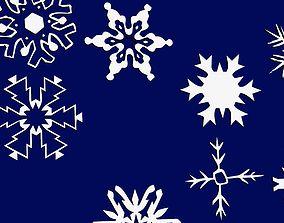 snowflakes 3D print model winter