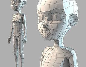 Cartoon Girl Base Mesh-Low Poly 3D asset