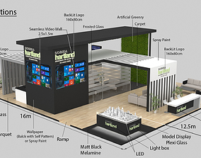 3D model Exhibition Stand Booth 204sqm architecture