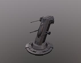Sci Fi Turret 3D model game-ready