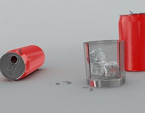 Cola cans icecube glass 3D model