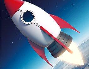 Cartoon Rocket Ship V2 3D asset