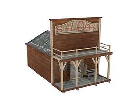 Western saloon lowpoly 3D model