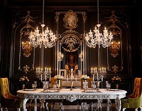 Classic Dining Room Scene 3D