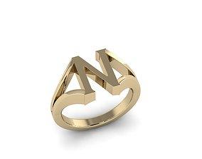 Jewelry Alphabet Ring N 3D print model