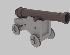 3D asset low-poly Pirate Cannon