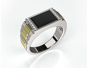Mens ring with black onyx 003 3D printable model
