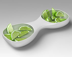 Ceramic Tray with Sliced Limes 3D